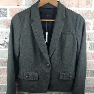 Banana Republic NWT Grey Green Tweed Wool Blazer